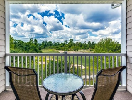 balcony view of golf course with amazing clouds and vivid colors, myrtle beach pet friendly vacation rental home